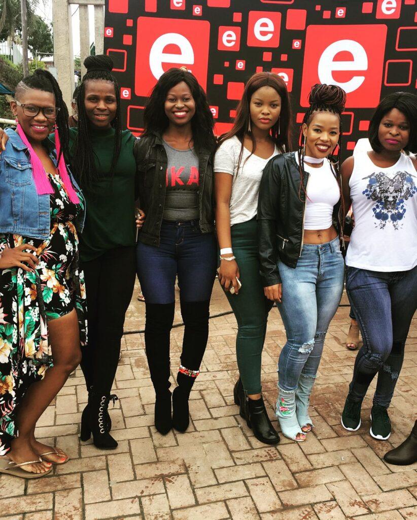 Lindiwe Msweli from Imbewu with Gugulethu Mzobe and other Imbewu crew.