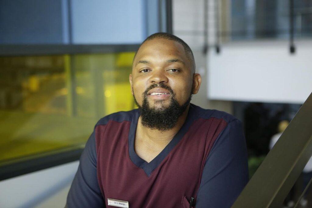 Image of Dr Bhengu from Durban Gen portrayed by Thokozisa Ziqubu