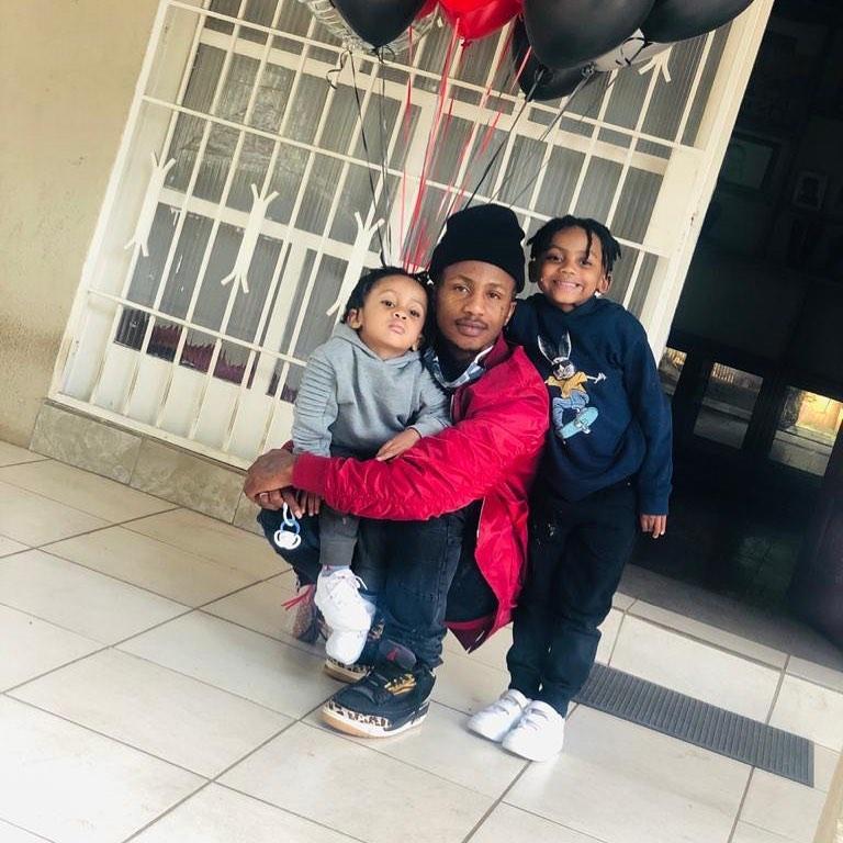 Mthembeni Ndevu aka Emtee with his sons Avery and Logan